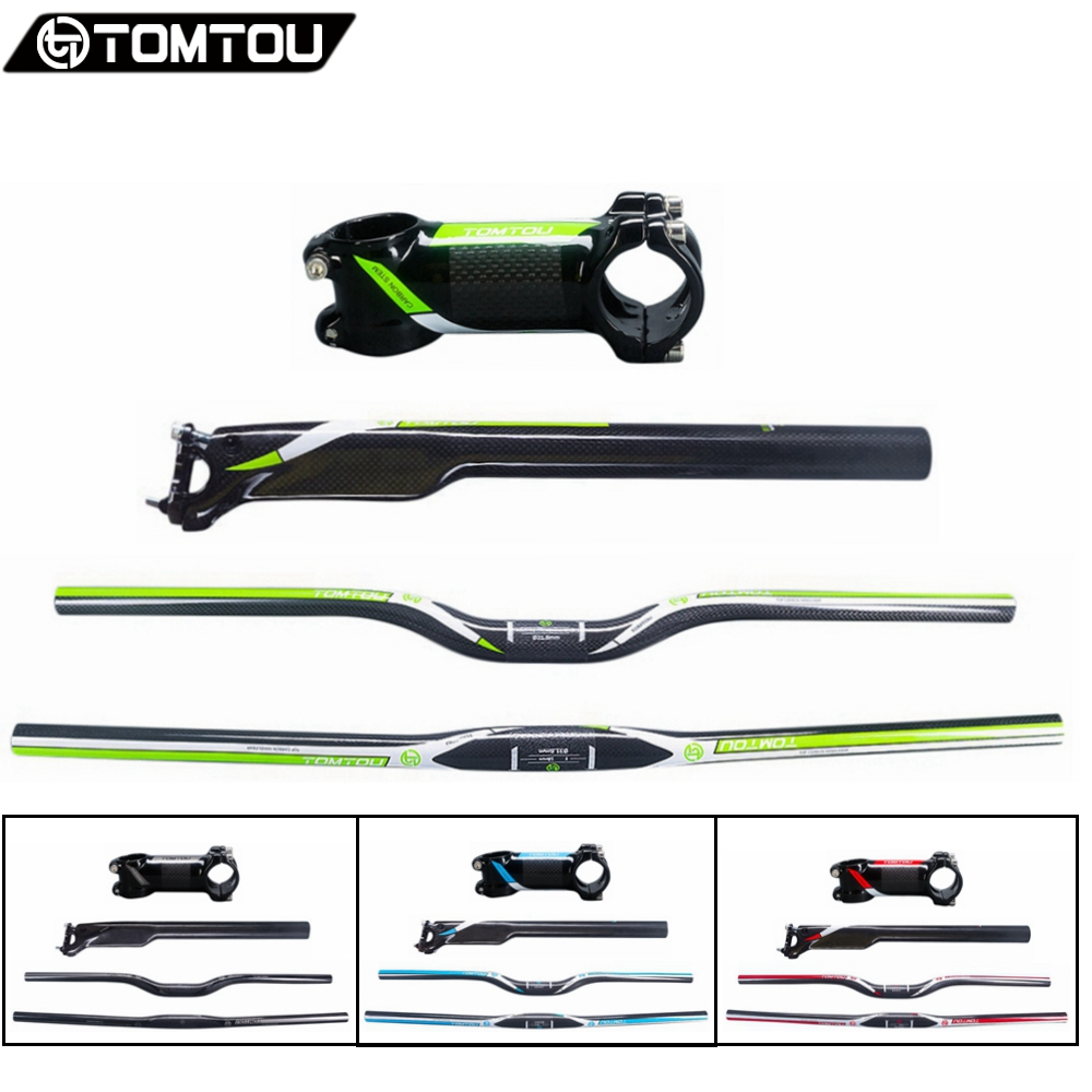 TOMTOU Carbon Fiber Bicycle MTB Handlebar Set Rise/Flat Handlebar + Breaking Wind Seatpost + Stem For Mountain Bike cycling king c k 2015 mtb handlebar bicycle stem carbon seatpost tube flat or riser mountain bike bar top carbon super set
