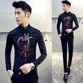 Мужская Рубашка 2016 Весна Autunm Свадьбы Vintage Мужские Рубашки Embrodiery Сорочка Homme Camisas Hombre Slim Fit Рубашки Мужчины