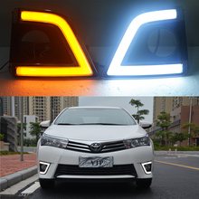 ECAHAYAKU 1 Set drl For Toyota Corolla 2014 2015 2016 LED DRL Daytime Running Lights Fog lamps with yellow turn signal Light osmrk led drl daytime running light for honda crv 2015 2016 wireless switch yellow turn signals dimmer function