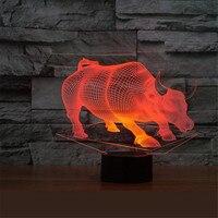 Usb雄牛牛ランプ7色変更タッチテーブルランプ赤ちゃんの睡眠ランプ3dホームの装飾ライトデスクライト3dランプ創造キッズギフ