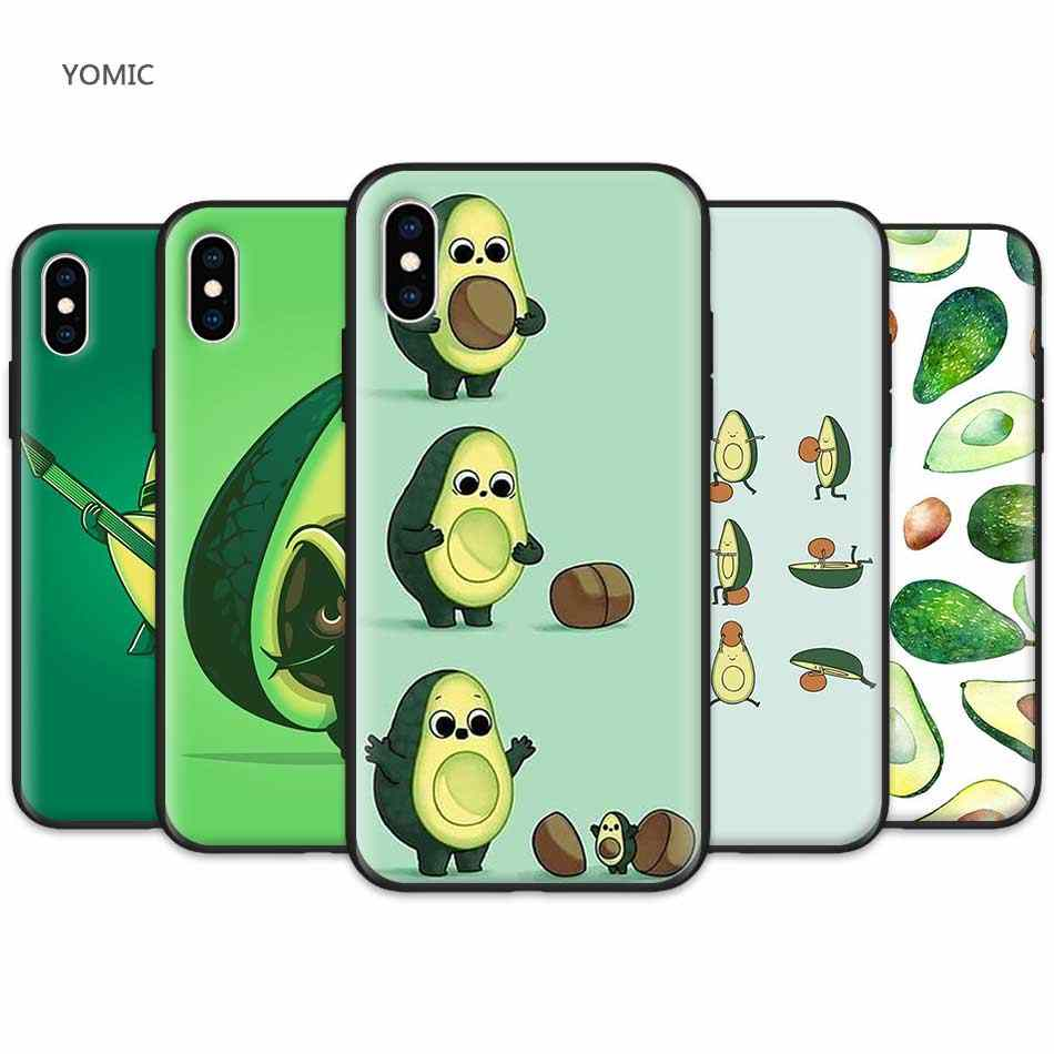 Silicone Mobile Phone Cover for Apple iPhone 11 Pro XR 7 8 6 6S Plus X XS MAX 5 5S SE Black Soft TPU Case Cute Avocado Food