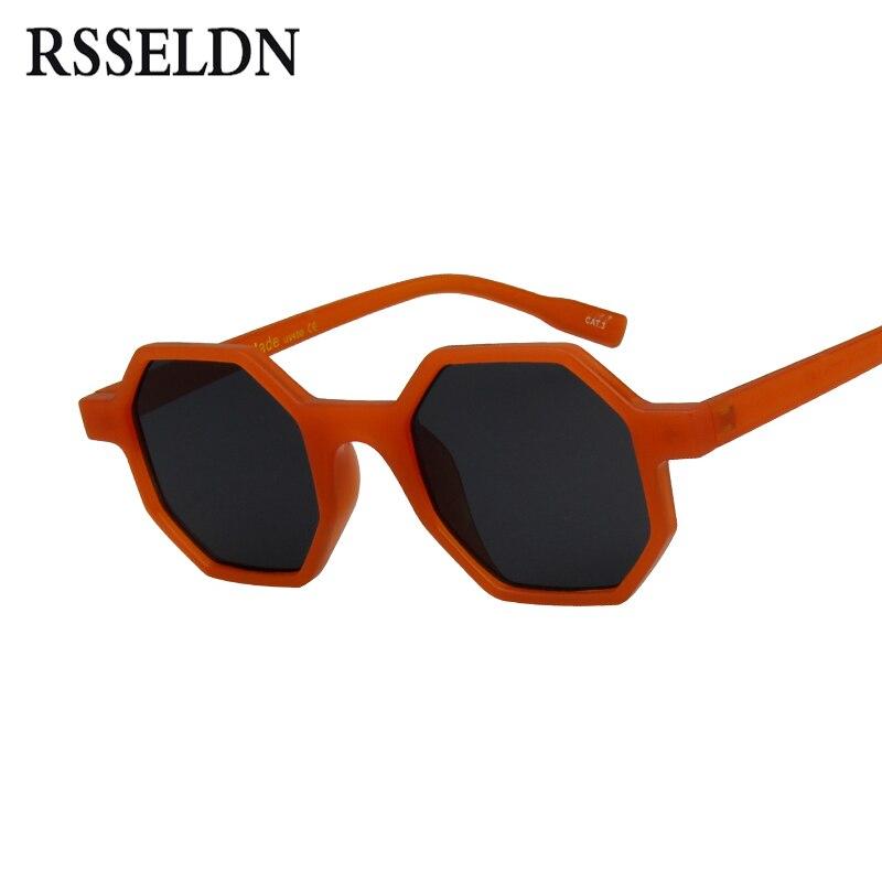 RSSELDN pequeñas gafas de sol mujer marca diseñador 2018 Vintage polígono negro marrón rojo gafas de sol mujer sombras masculinas UV400