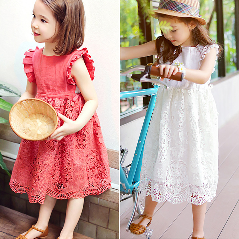2017 Summer New Cotton Lace Girl Dress Kids Embroidered Children Clothes White and red Lace Princess Korean style Thin Dress 2017 new summer children girl long sleeve lace dress kids clothes cotton child party princess tank girl dress sundress age 2 10y