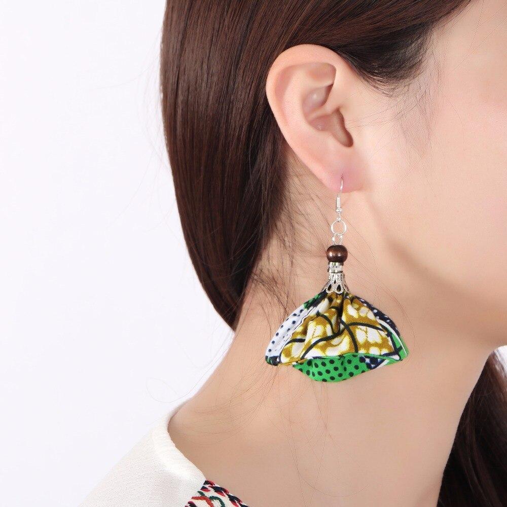 2017 Multi color Ankara Ethnic Earrings African  Print Fabric Morning Glory Earrings Jewelry Earring for Women WYB112