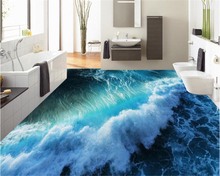 beibehang 3d wallpaper Custom fashion aesthetic personality wall paper vast three-dimensional ocean wave water 3D floor painting