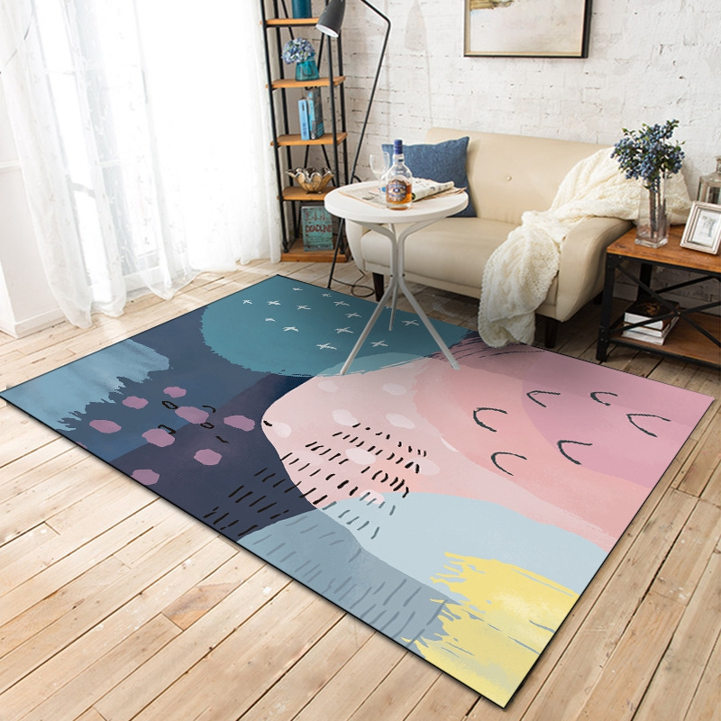 Minimalist Colorful Rug Designs: Nordic Minimalist Carpets For Living Room Home Bedroom