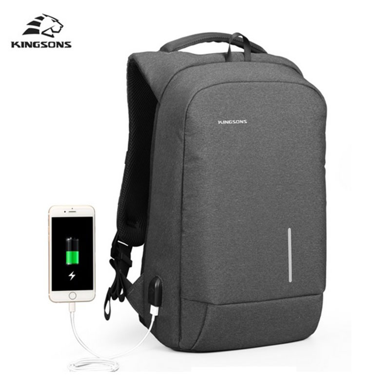 Kingsons USB Charge Men's Backpack 15.6'' Laptop Backpack Large Capacity Casual Waterproof Bag Women Cell Phone Sucker backpacks
