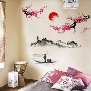 Image 3 - Çin tarzı Sakura japon pembe kiraz çiçeği ağaç dekor duvar Sticker dekor