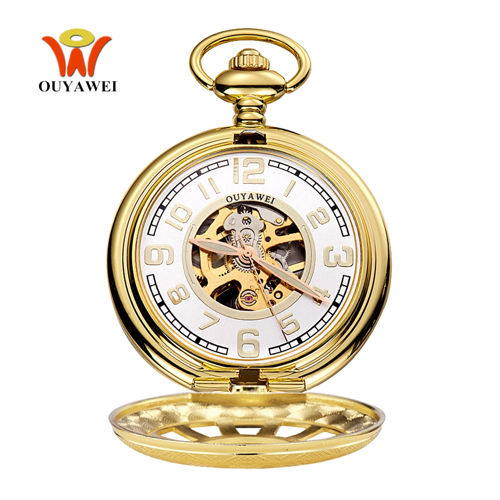 Orologio Uomo Luxury Brand OYW Mechanical Hand Wind Pocket Watch Men Male Pendant Watch Full Steel Case Pocket Fob Watch Relogio