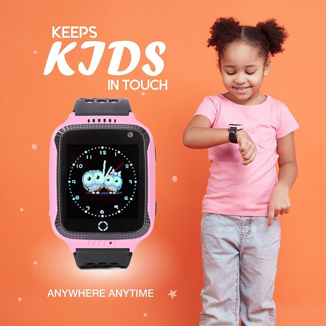 Smart Watch For Kids Boys Girls Fitness Baby Phone Touch Screen With GPS Tracking Tracker Children SOS Call Camera Blue Pink 3