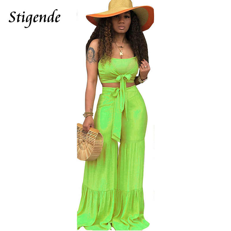 Stigende Casual Summer Solid Bandage 2 Piece Set Women Two Piece Set Elastic Spaghetti Strap Crop Top and Wide Leg Outfit Set