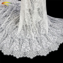 3M/ Lot French Eyelash Lace Fabric 150cm White Diy Exquisite Embroidery Clothes Wedding Dress Accessories