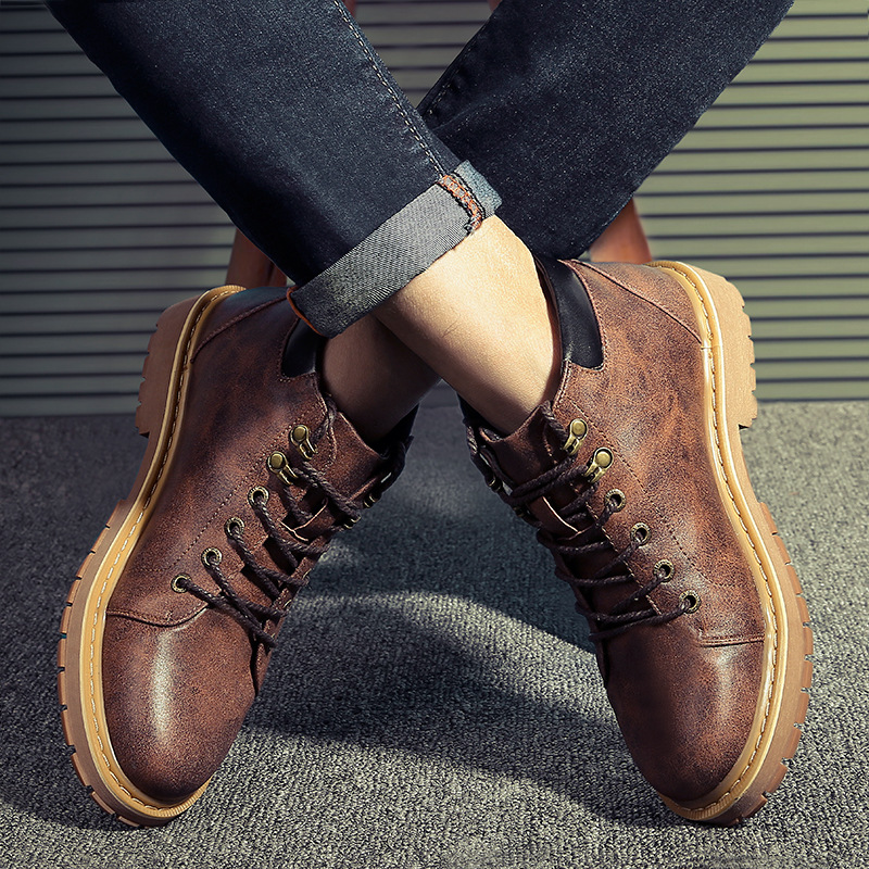 Comfort Homens Up Para De Lace Couro Ankle Martin Calçado Primavera cinza Moda Dos Sapatos Sapatas amarelo Outono Marrom Homem Casuais O Botas Boots Novos 5TzfwUxq