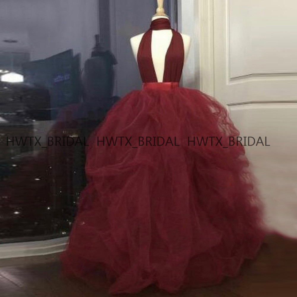 Plus Size Ball Gown   Prom     Dresses   2019 Halter Backless Ruched Tulle Puffy Burgundy Formal Party   Dress   Long Robe de bal Custom