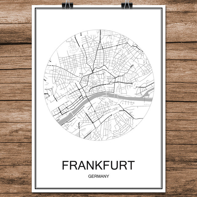 Frankfurt Germany Famous World City Street Map Print Poster Abstract