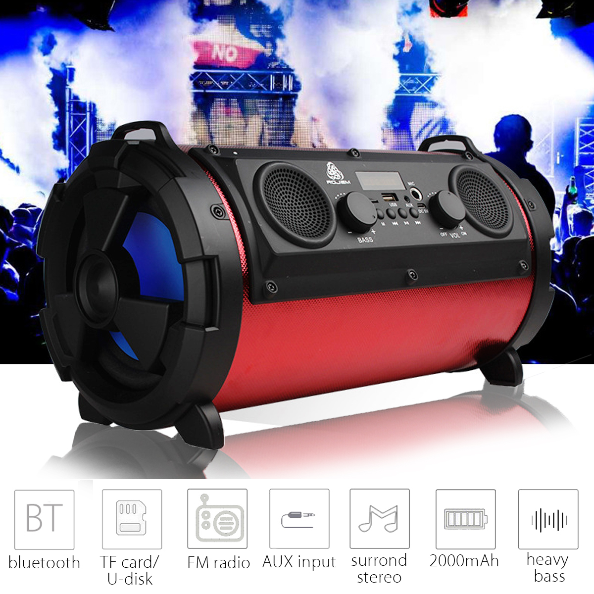 Kinco 15W Portable Bluetooth Wireless Speaker Stereo Hi-Fi Surround Super Bass Subwoofer Loudspeakers FM Radio TF AUX USB outdoor portable bluetooth speaker wireless waterproof bass loud speaker 3d hifi stereo subwoofer support tf card fm radio