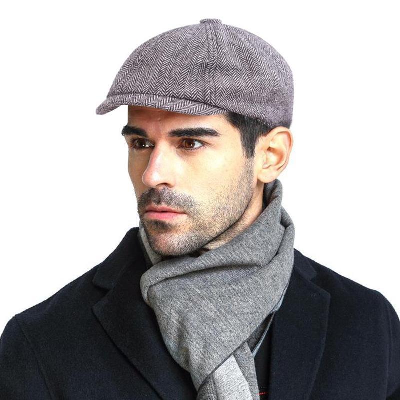 b08e7392c5f2 Hombre gorra plana Grey vendedor rusa, sombrero Gatsby Peaky Blinders
