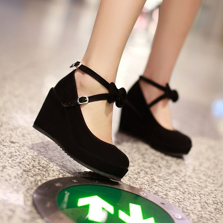 a96e4950369 Women Fashion Sweet Ankle Strap Buckle Bow Tie Wedge High Heel Shoes  Platform Lolita Cosplay 3Colors-in Women s Pumps from Shoes on  Aliexpress.com