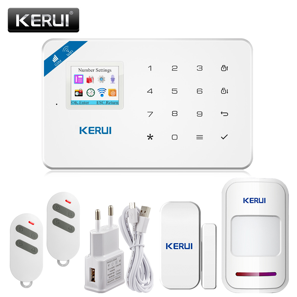 APP Control WIFI GSM SMS Home Burglar Security Alarm Systems PIR Motion detector Touch Screen Alarm Panel  Sensor Alarm kerui wireless wired gsm voice burglar home house security alarm app control tft touch panel wireless smoke detector pir sensor