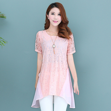 5xl плюс размер топы blusas feminina 2016 новый корейский весна лето женщины футболки черный розовый тонкий кружева шифона рубашки женские A0960