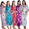 Lengthen Peacock Robe Women's Kimono Bathrobe Wedding Robe Night Gown Sleepwear Silk Satin Plus Size S-XXXL WR0042015