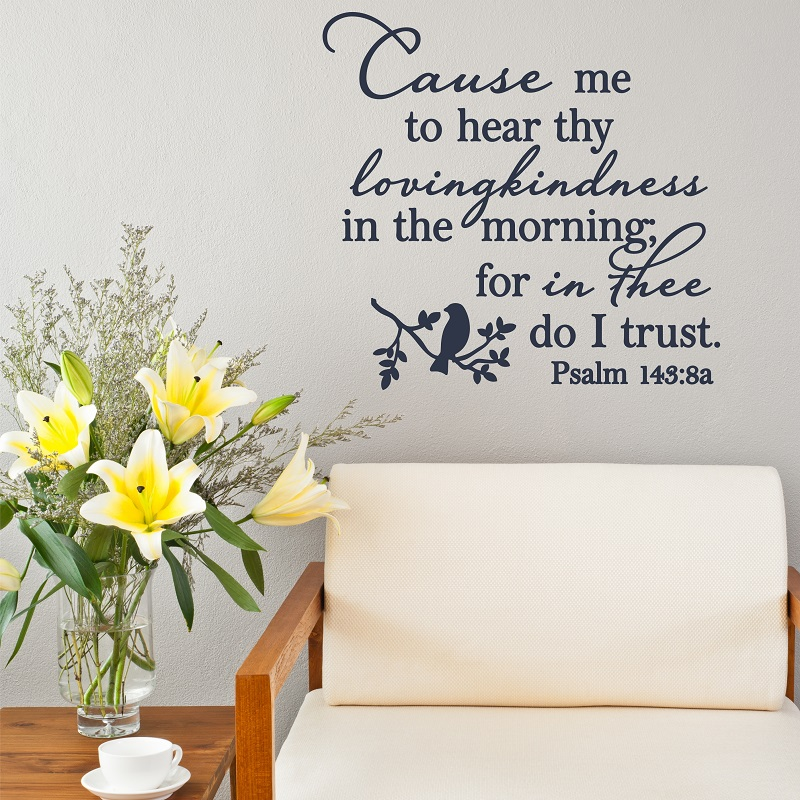 Psalm 143  8 Bible verses Spanish vinyl wall stickers Christian living room bedroom wall stickers decorative wallpaper 2SJ17-in Wall Stickers from Home & Garden