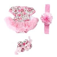 لطيف 3 قطع روز زهرة الوليد الطفل بنات توتو اللباس بذلة تتسابق الملابس الوردي 3-6 شهر