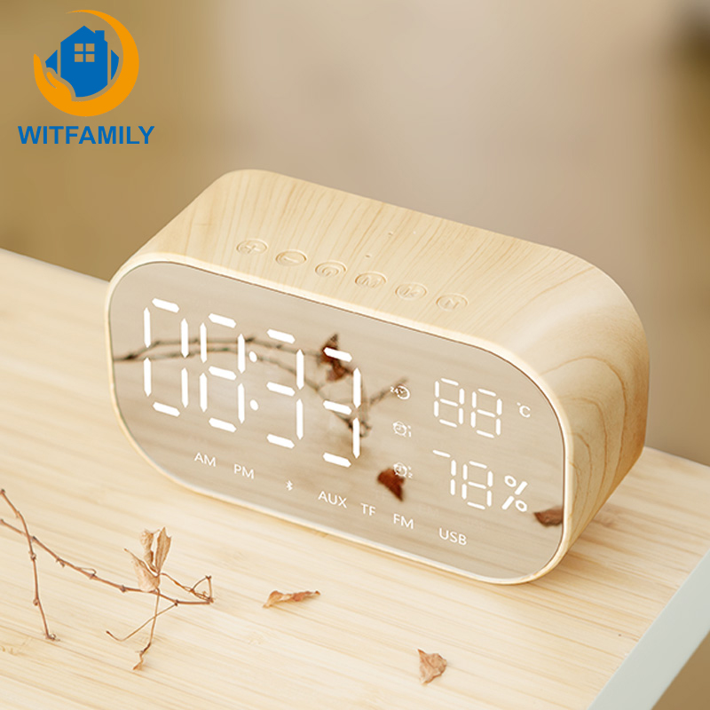 Miroir LED horloge en bois sans fil Bluetooth haut-parleur réveil numérique avec Radio FM fonction Snooze extérieur Portable Table décor