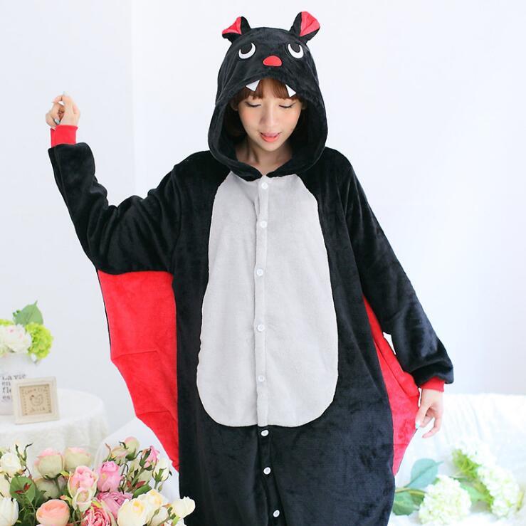 Unisex Winter Sleepsuit Shineye Bat Unisex Adult Flannel Hooded Pajamas Adults Cosplay Cartoon Cute Animal Onesies Sleepwear