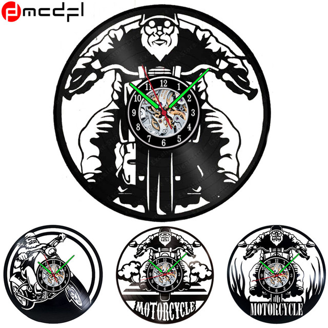 New Super Motorcycle 12 inch Vinyl Record Wall Clock Modern Design Sticker Home Art