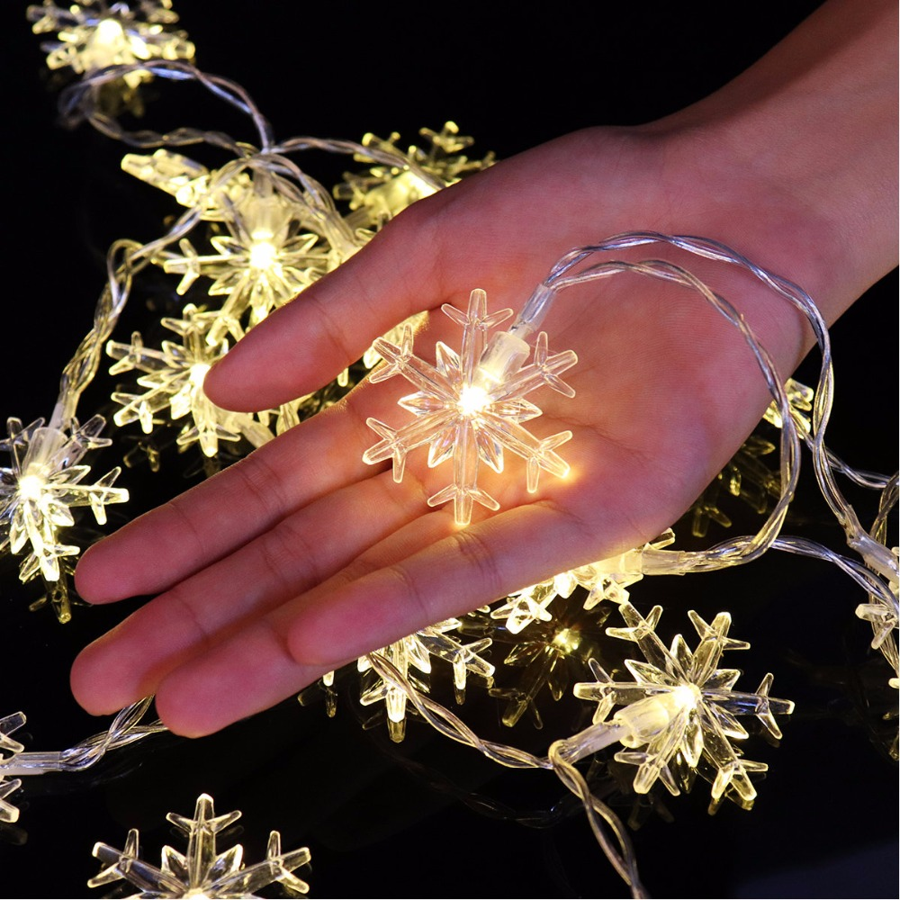 2M/3M/8M Snowflake Battery Powered String Lights Fairy Lights Window Garland Decorations Wedding Christmas Decorative Lights