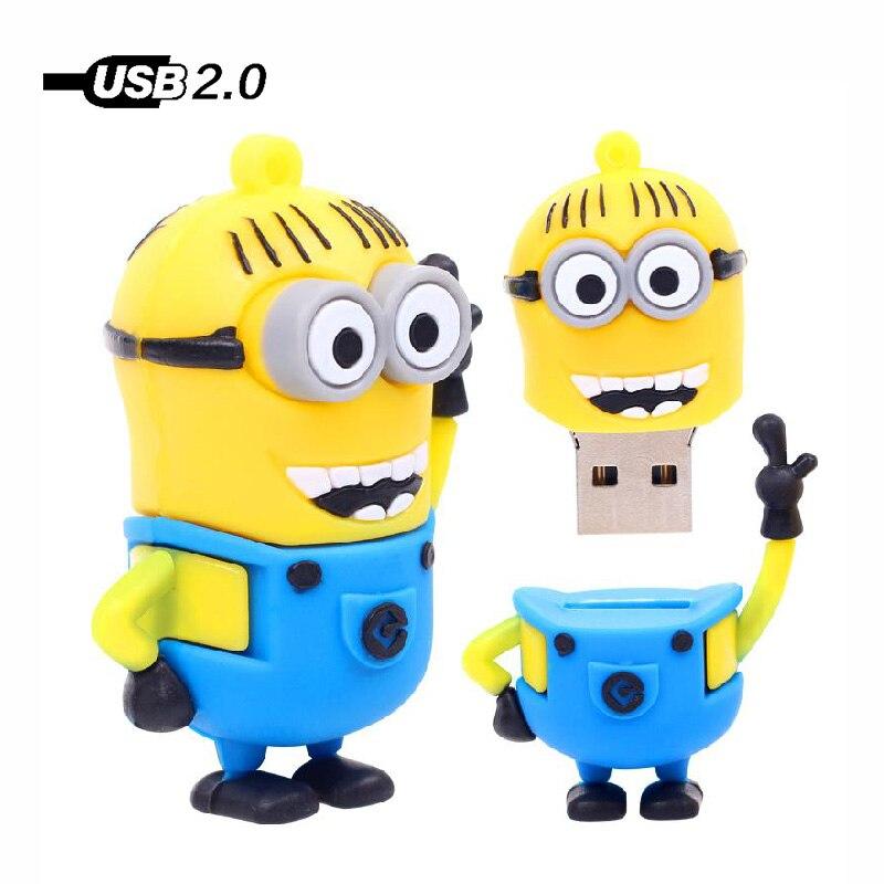 Portable Storage Cartoon Usb Minions Yellow Man U Flash Disk 128MB 4GB 8GB 16GB 32GB 64GB 128GB Usb Flash Drive Memory Stick