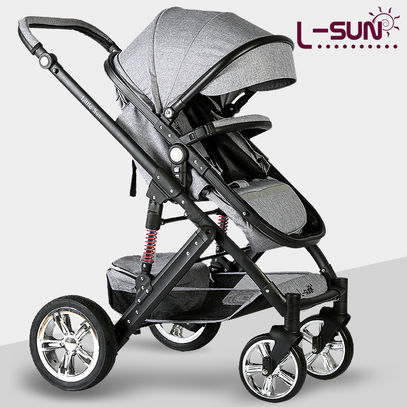 Small Sun Baby Stroller can be lying Dual-purpose Children's Trolley Light Folding Baby Cart  High Landscape Linen Fabr umbrella twin stroller high landscape can lay the portable folding baby cart