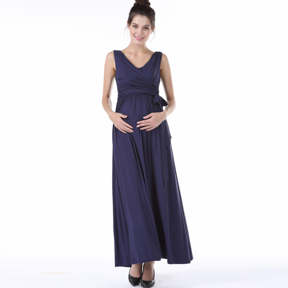 Sans manches col en v Lycra maternité Maxi robe bleu rouge longue grossesse robe formelle drapé vêtements de soirée pour les femmes enceintes