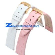 Ultra-delgada correa de piel genuina correa del cinturón de pulsera band 10 mm 12 mm 14 mm 16 mm 18 mm 20 mm para mujer de color rosa blanca