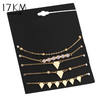 17KM 5Pcs/Set Alloy Triangle Bracelet Stone Bracelets For Women Gold Color Charm Pulseiras Set Pulseras Mujer Pendant Bead