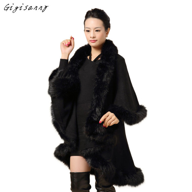 2017 New Casual Women Spring Autumn Faux Fur Collar Poncho Cape Thin Stole Wrap Hoody Coat Free Shipping,Jan 1
