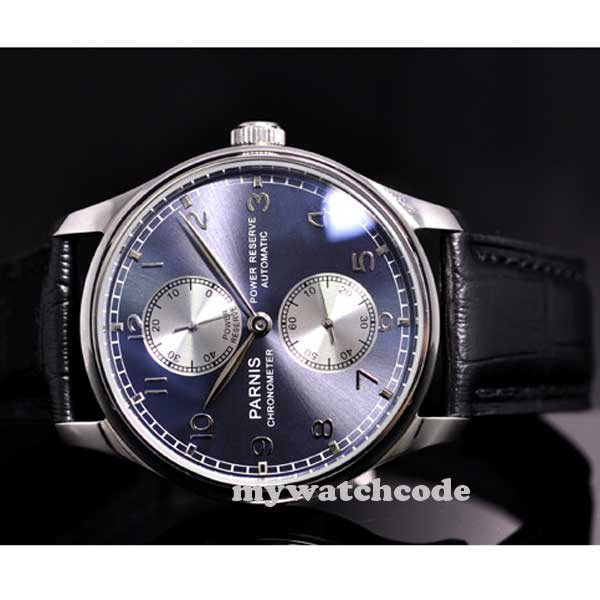 43mm parnis blue dial Luxury power reserve automatic movement mens watch P193 цена