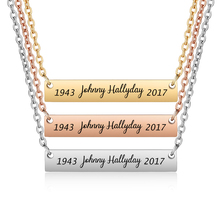 Johnny Hallyday Custom Name Necklace ID Bar Silver Chain Nameplate Necklaces for Women Men Jewelry SL-069