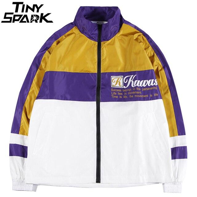 Chaqueta de bombardero Hip Hop para hombre chaqueta rompevientos Patchwork  Retro Vintage Color Block chaqueta Streetwear 27b4ff7424f