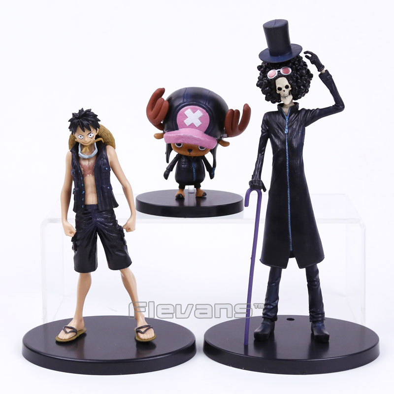 Anime One Piece Film Gold Monkey D Luffy Tony Tony Chopper Brook 3pcs/set PVC Figures Toys 9~22cm free shipping new japanese anime one piece pvc figure toy umbrella strawhat luffy tony tony chopper model doll 10pcs set