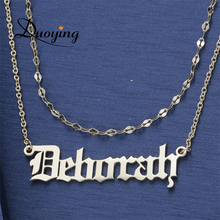 DUOYING Double Layered Old English Personalize Custom Name Necklace Beauty Dainty Gold Choker Necklace Letter Necklaces for Etsy