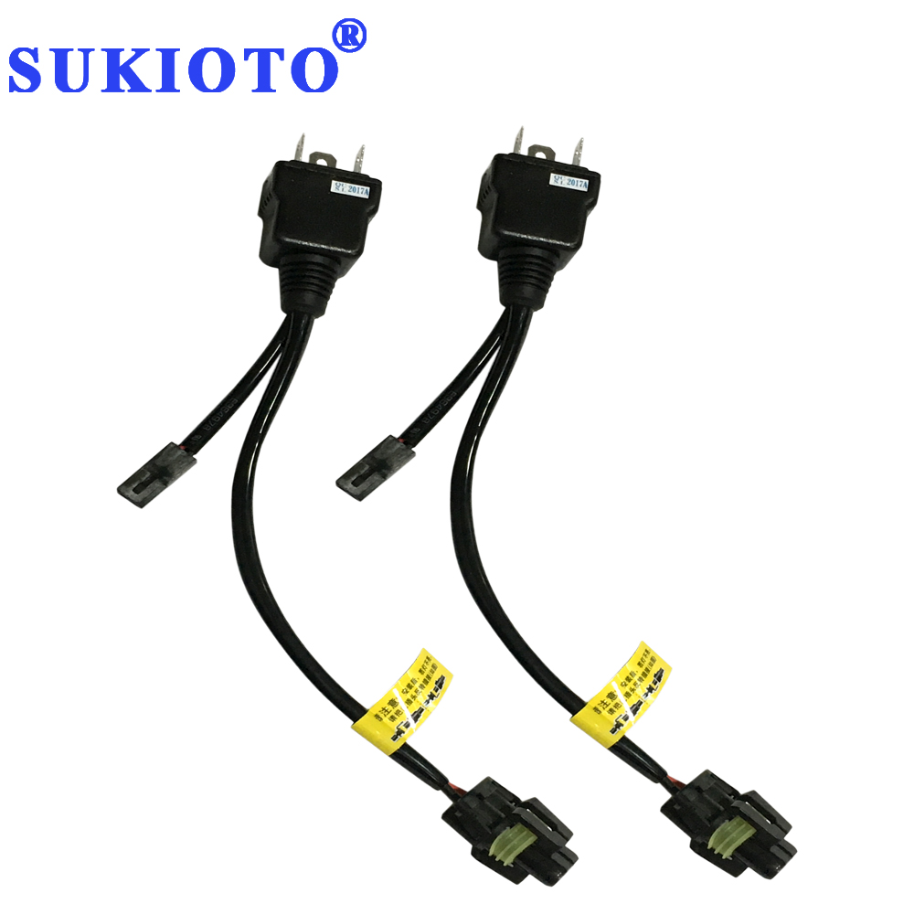 SUKIOTO 1 Pair High Low Xenon 55W H4 Controller Relay Harness Wire 4300K-8000K Yellow Bi Xenon H4 Bulb Lamp H/L Far Near Light