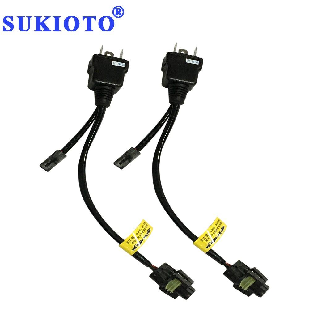 SUKIOTO 1 Pair High Low Xenon 55W H4 Controller Relay Harness Wire 4300K-8000K Yellow Bi Xenon H4 Bulb Lamp H/L Far Near Light