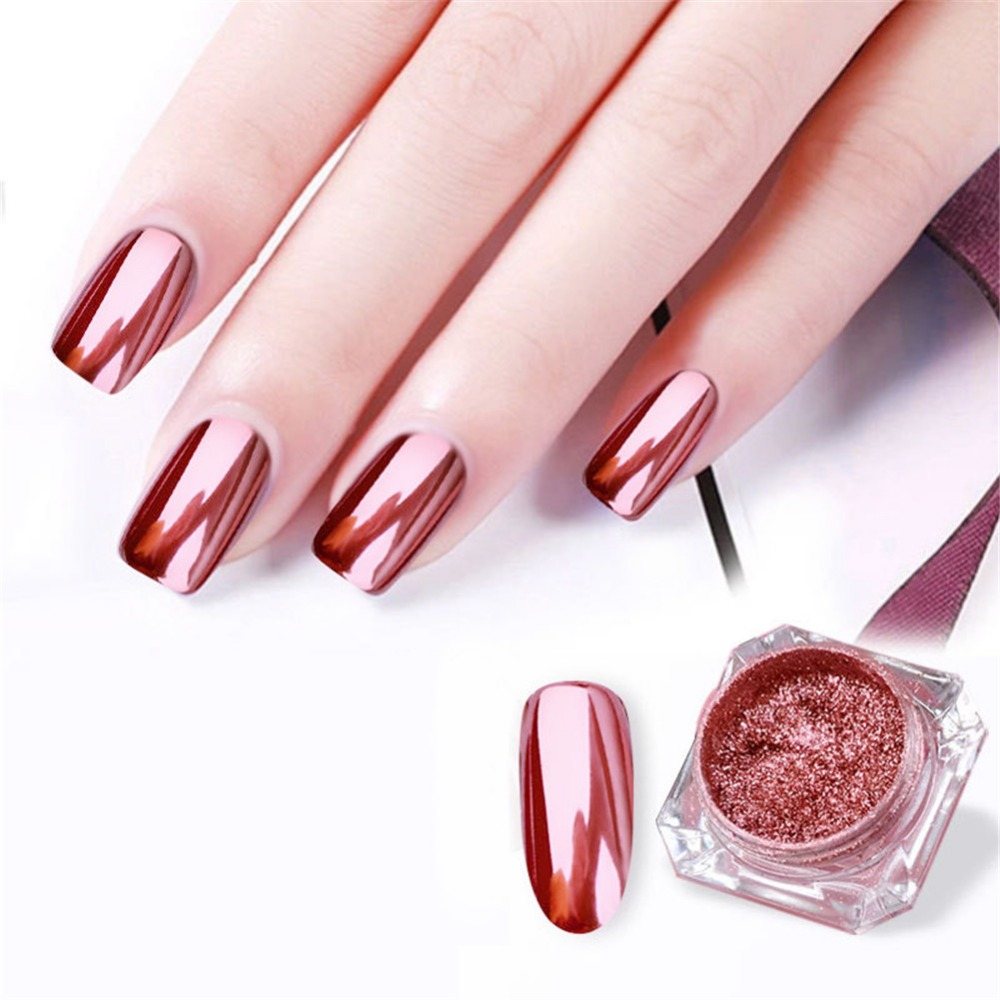 US $1 11 14% OFF|1Box 0 3g Platinum Foil Rose gold pink red Flakes Pigment  Mirror Effect Chrome Nail Powder Glitter Sequins Manicure Gel Nail-in Nail