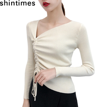 shintimes 2019 Autumn Winter Black Women Sweaters Fashion Lrregular Lace Up Bow Knitted Top Long Sleeve Slim Soft Womens Sweater