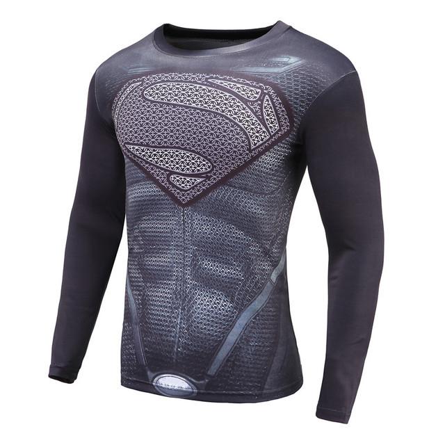 Super Hero Super man Compression Crossfit 3D Printed T-shirts Long Sleeve