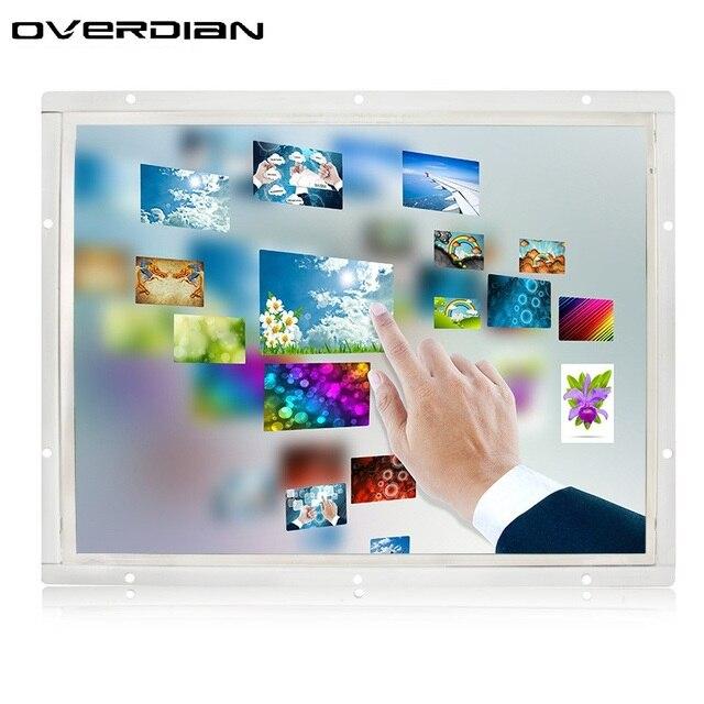 בקרה תעשייתית צג Lcd Vga/Hdmi/Usb ממשק 12/12. ברזולוציה גבוהה 1 inch מעטפת מתכת מסגרת פתוחה מסך מגע Resistive