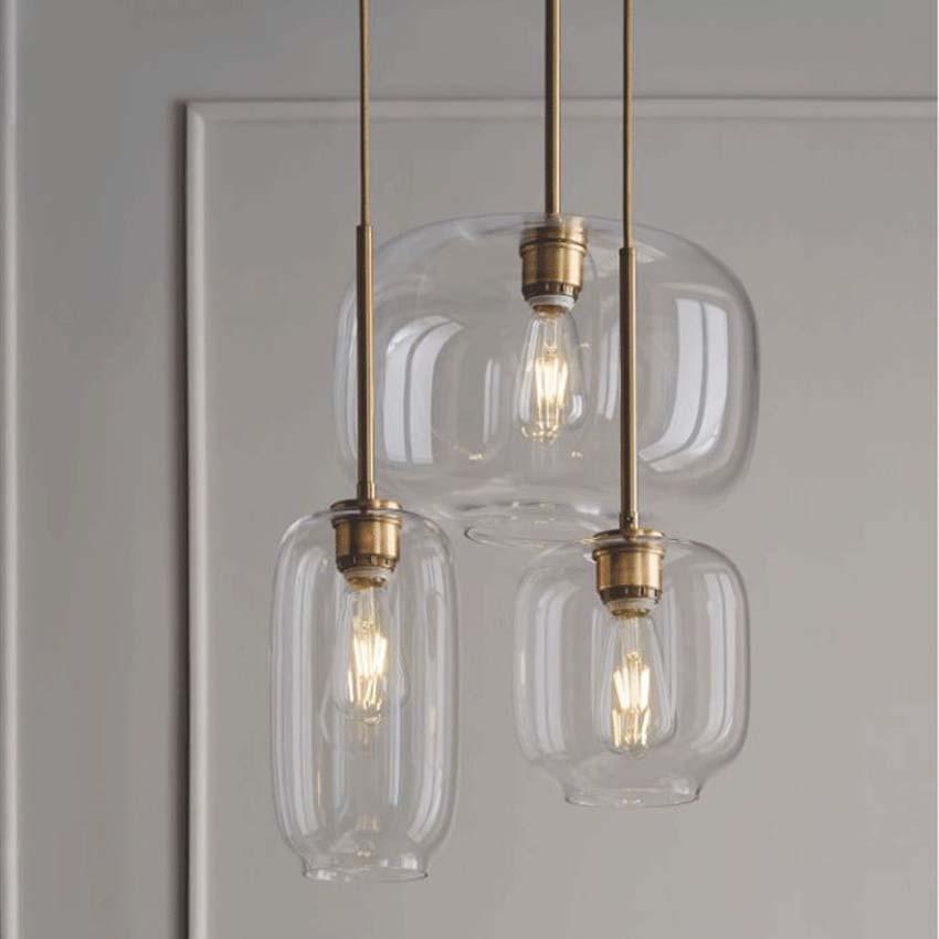 Nordic Glass Suspension Luminaire Clear Cognac Nordic Hanging Pendant Lamp Hallway Dining Room Bar Cafe Restaurant Light Fixture