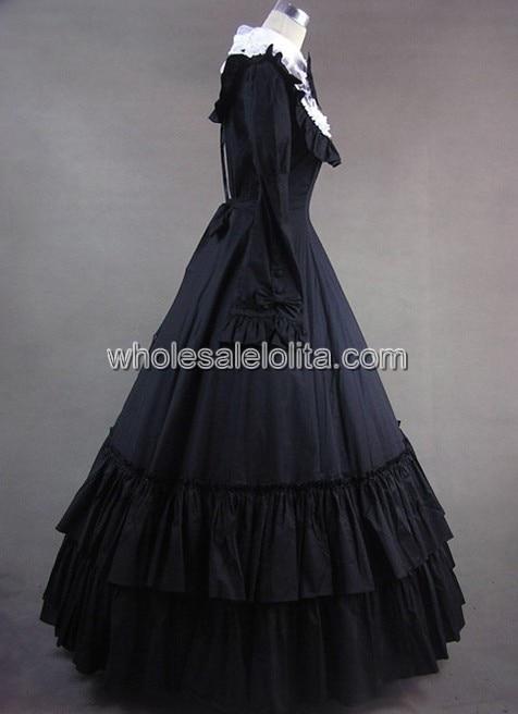 Винтажное викторианская готика платье с длинными рукавами